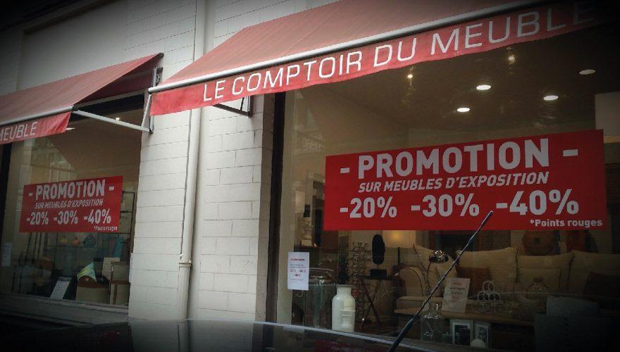 affichage promotion sur vitrine woluwe